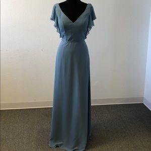 Deep sea chiffon gown